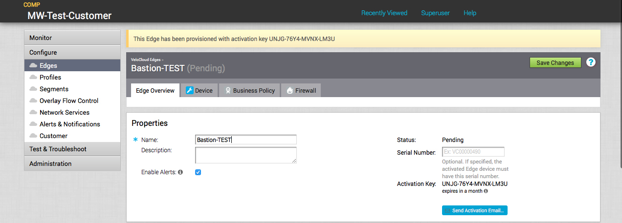 VeloCloud VM – set IP address and activate it – BASTION NOTES